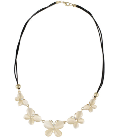 Karatcart Butterfly Leather Chord Peach Zinc Statement Necklace