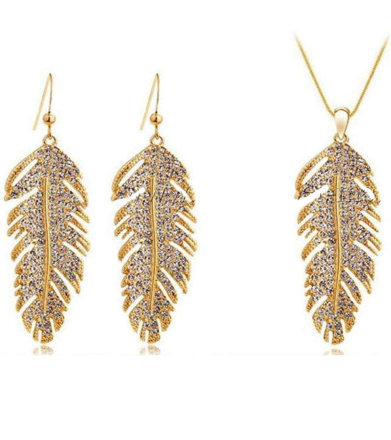 Valentine Gift by Karatcart 24K Gold Plated Elegant Austrian Crystal Feather Set