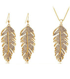 Valentine Gift by Karatcart 24K Gold Plated Elegant Austrian Crystal Feather Set For Women