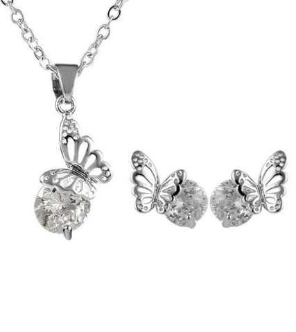 Valentine Gift by Karatcart Platinum Plated Elegant Austrian Crystal Set For Women