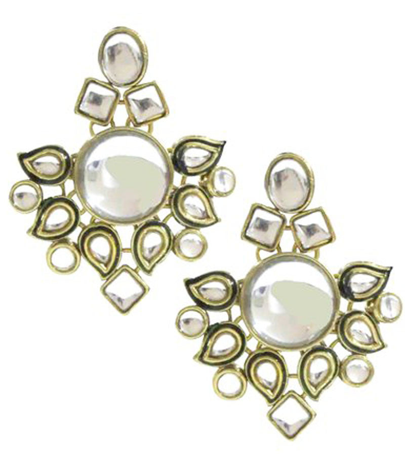 fb5d7e3f4 Meera Kundan Earrings | Buy Designer Meena Kundan Stud Earrings Online |  Shop Women Jewellery | KaratCart.com