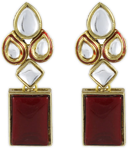Red Modish Kundan Earrings