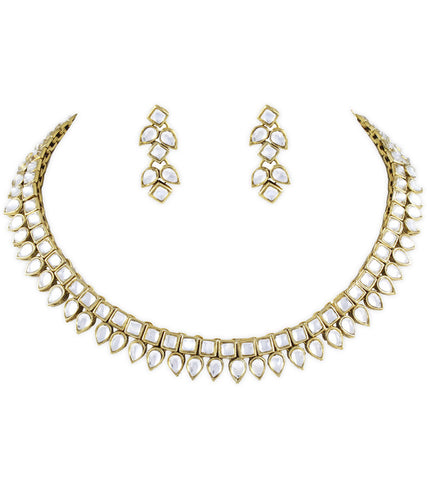 Square Drop Kundan Necklace Set