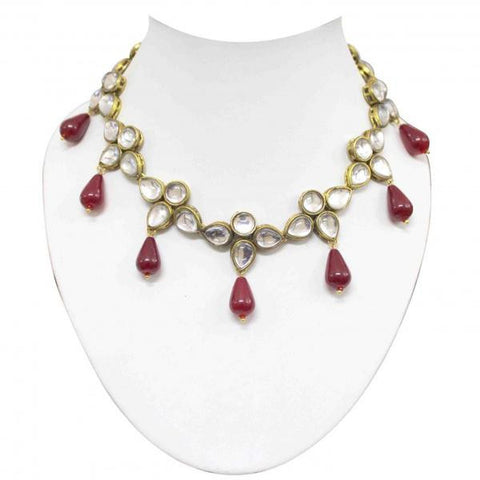 Red Drop Kundan Set