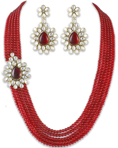 Mia collection Red Brooch Kundan raditional Jewel Set