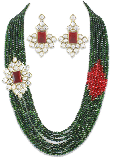 Mia Hexagonal Red Brooch With Green Beads Kundan Rani Haar Necklace Set