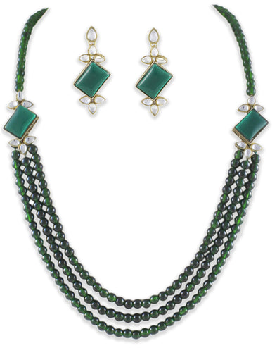 Green Kundan Set with Beads