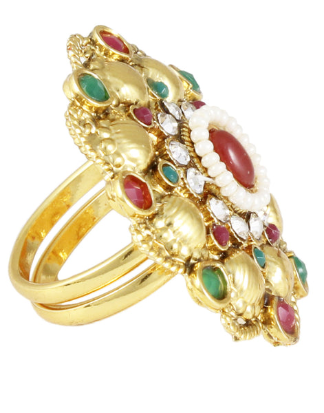 22K Goldplated Red and Green Adjustable Ring by Karatcart