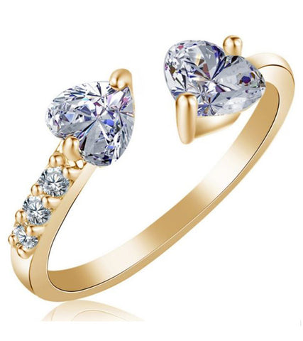 Karatcart 24K GoldPlated Trendy Elegant Austrian Crystal Heart Cut Adjustable Ring