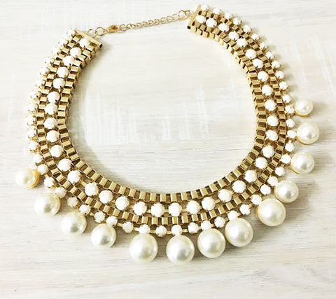 24K GoldPlated White Pearl Statement Necklace For Women