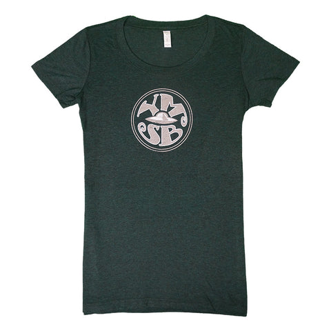 Ladies Green Retro Spaceship T-Shirt