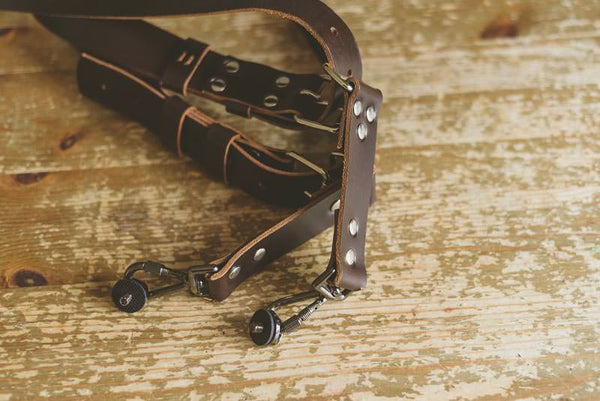 Dual Leather Camera Strap Harness