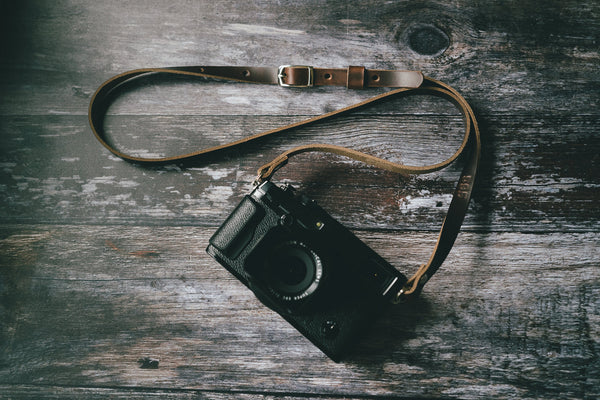 adjustable leather camera strap