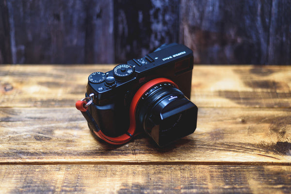 Leather Camera Wrist Strap - Black on Red