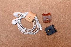 Leather Cable And Headphone Organisers