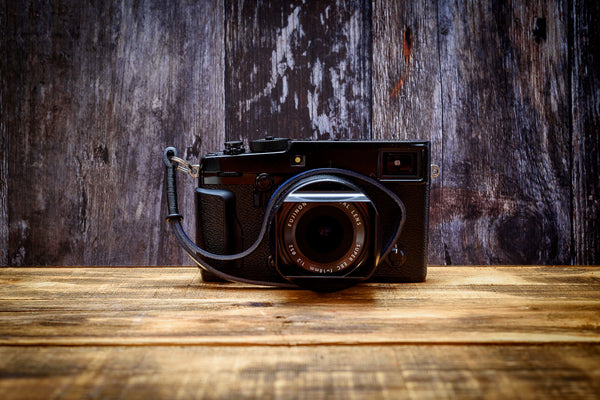 Leather Camera Wrist Strap - Black on Blue