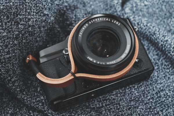 Black on Tan Leather Camera Wrist Strap | 595strapco - 2