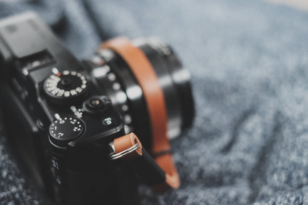 Black on Tan Leather Camera Wrist Strap | 595strapco - 3