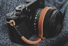 Load image into Gallery viewer, Black on Tan Leather Camera Wrist Strap | 595strapco - 4