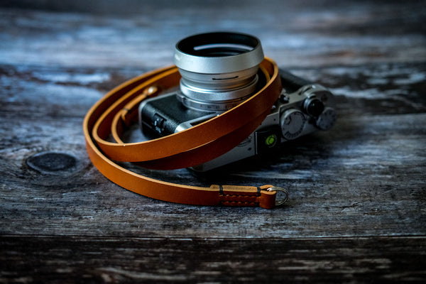 Classic Stitched Leather Camera Neck Strap