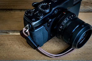 Leather Wrist Strap - Black on Brown