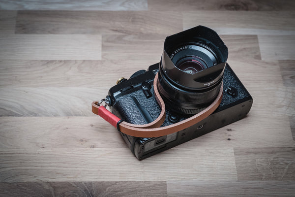Red on Tan Leather Camera Wrist Strap