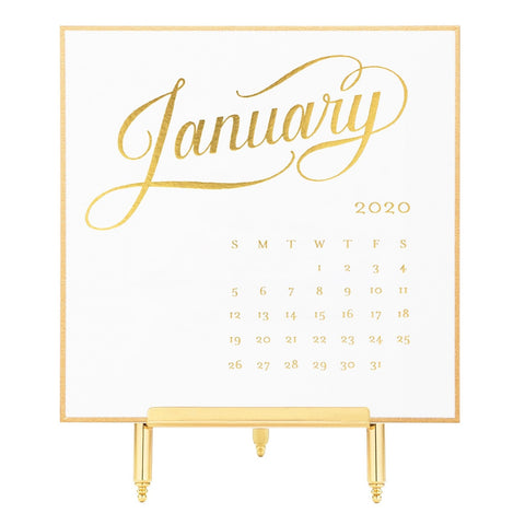 2020 White & Gold Desk Calendar