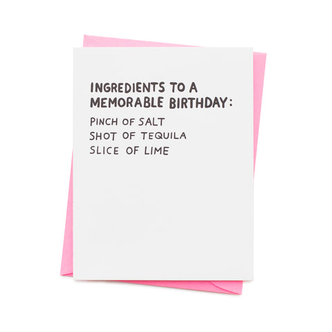Birthday Ingredients Card
