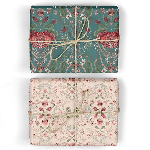 Bush Teal / Grevillea Double-Sided Wrapping Sheets