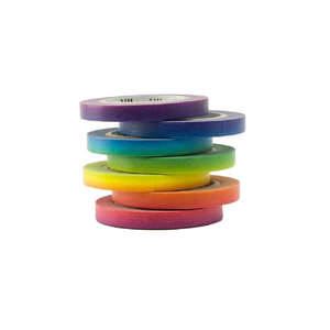 Gradient Rainbow Slim Washi Tape Set