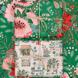 Houses / Green Floral Double-Sided Wrapping Sheets