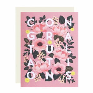 Dusty Pink Floral Congratulations Card