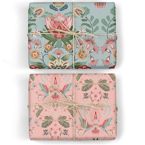 Protea / Lorikeets Double-Sided Wrapping Sheets