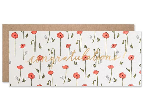 Red Poppy Congratulations Card