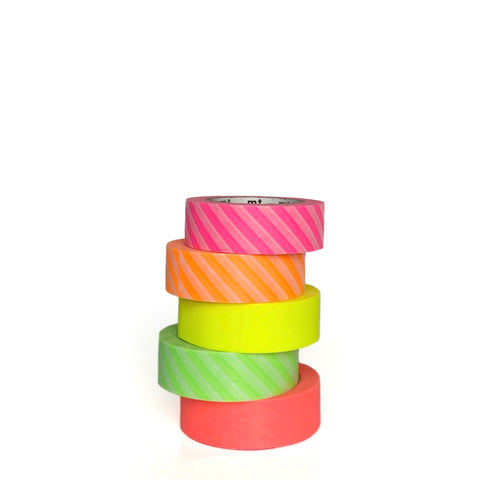 Striped Neon Washi Tape Set