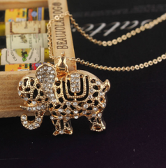 Crystal White Sapphire Elephant Necklace