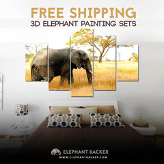 3D PEACEFUL AFRICAN ELEPHANT PAINTING