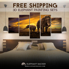 3D Elephant Family Premium Wall Art Set