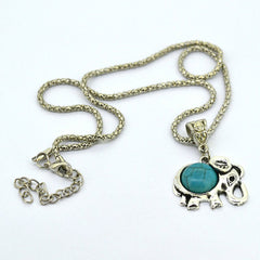 Vintage Elephant Turquoise and Silver Pendant
