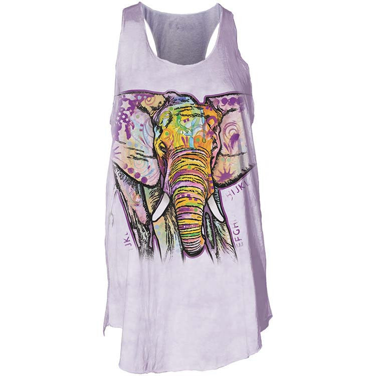 Watercolor Elephant Flow Tank Top