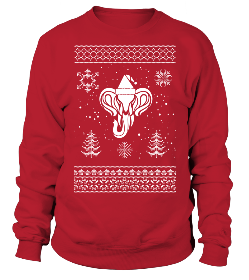 Elephant Ugly Christmas Sweater-designed Shirt ( Red)