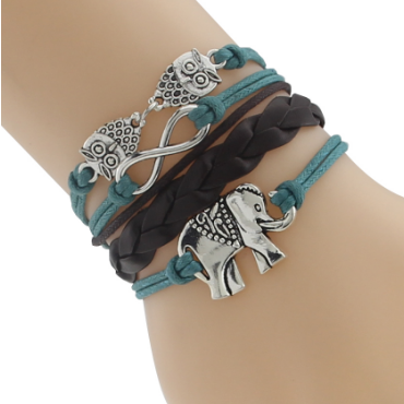 Rainbow Color Elephant Leather Cord Bracelet