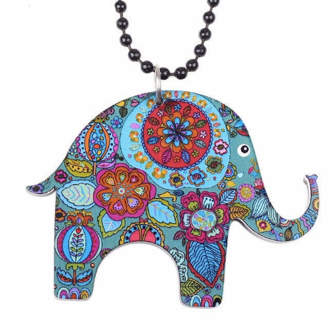 Long Paisley Rainbow Elephant Pendant