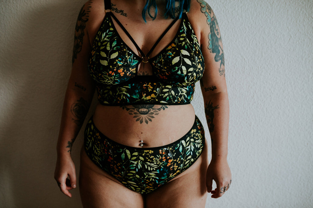 Artio Longline Bra - Dark Flora (nursing and undies options available)