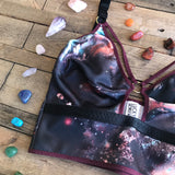 Nox Set - Longline Dark Galaxy Print Bra Bralette Custom Lingerie Made to Measure Nursing Bra