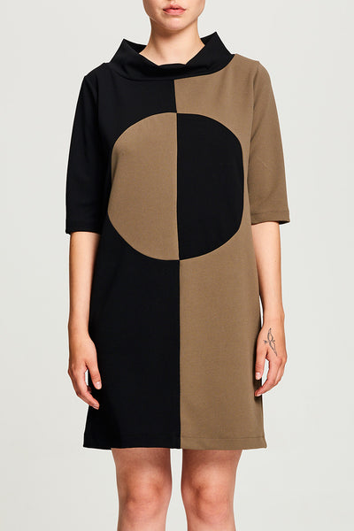 2 Color Crepe Circle Dress (Green/Black)
