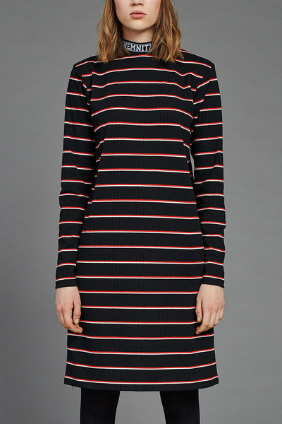 BIBI Rib Turtleneck Dress in nice striped jersey rib fabric by BIBI CHEMNITZ