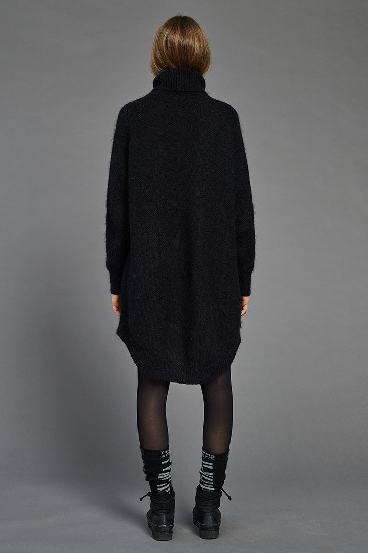 Black Mohair Arch Turtleneck