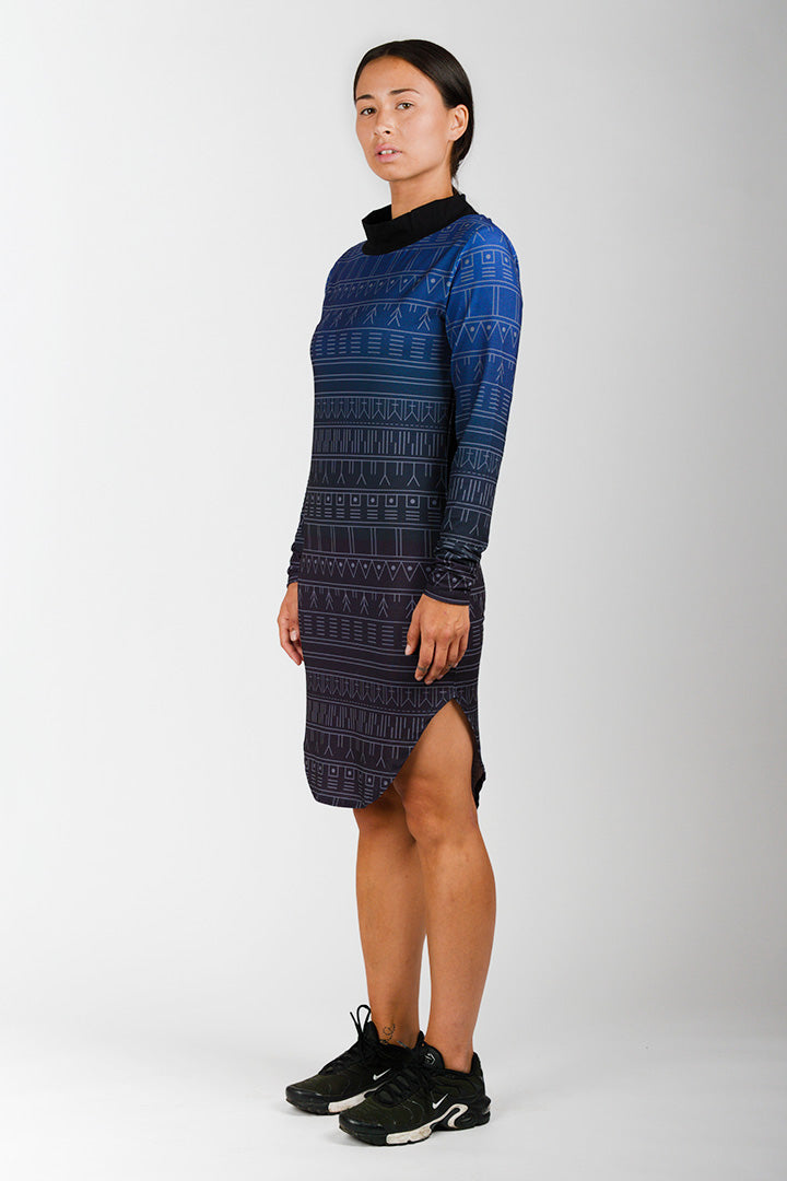 Blue Tattoo Collar Dress