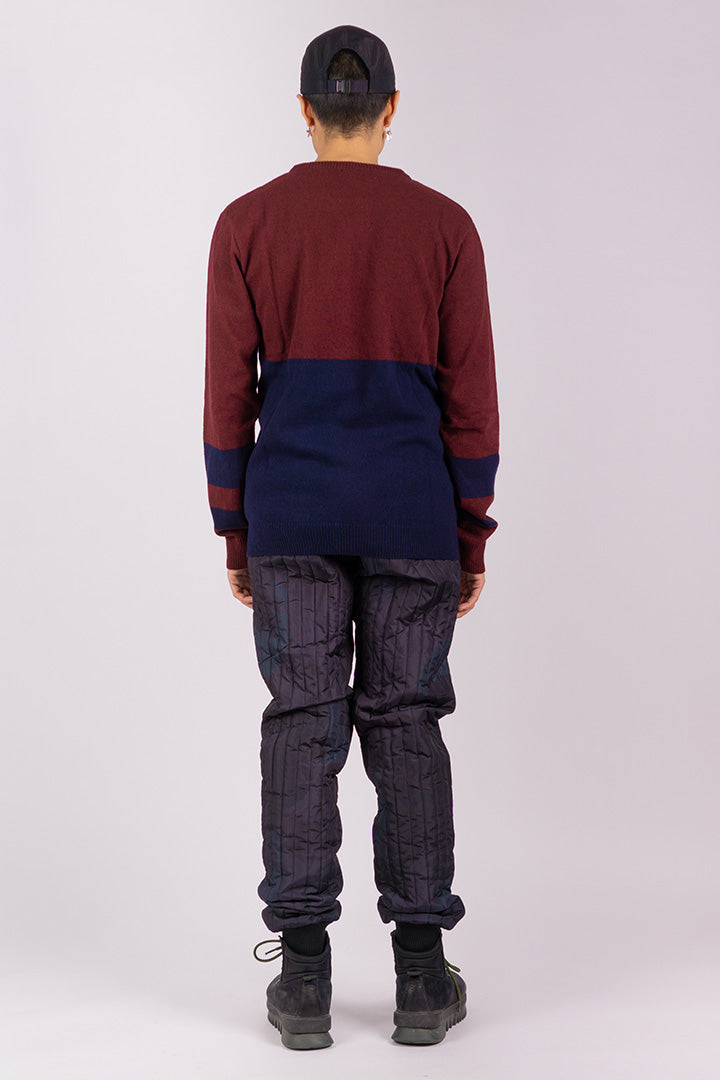 Lambs Wool Jumper Burgundy/Navy (unisex)